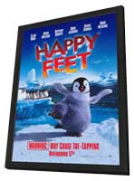 Happy Feet - 27 x 40 Movie Poster - Style A - in Deluxe Wood Frame