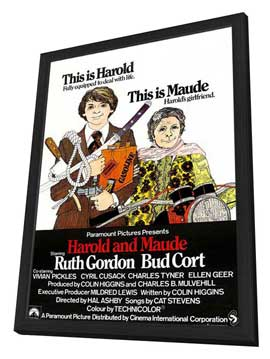 Harold and Maude - 11 x 17 Movie Poster - UK Style A - in Deluxe Wood Frame