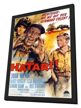 Hatari! - 11 x 17 Movie Poster - German Style A - in Deluxe Wood Frame