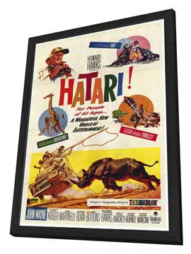 Hatari! - 27 x 40 Movie Poster - Style A - in Deluxe Wood Frame