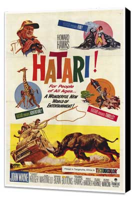 Hatari! - 27 x 40 Movie Poster - Style A - Museum Wrapped Canvas