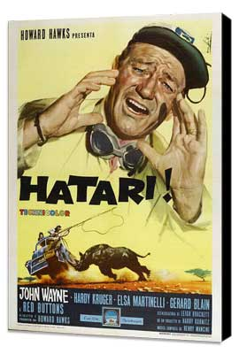 Hatari! - 27 x 40 Movie Poster - Italian Style A - Museum Wrapped Canvas