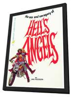 Hell's Angels - 11 x 17 Retro Book Cover Poster - in Deluxe Wood Frame