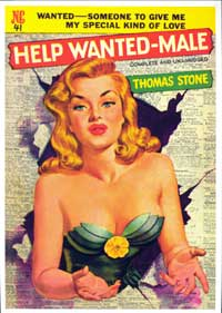 Help Wanted Male - 11 x 17 Retro Book Cover Poster