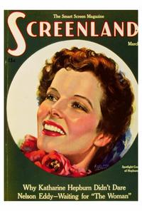 Katharine Hepburn - 27 x 40 Movie Poster - Screenland Magazine Cover 1930's Style A