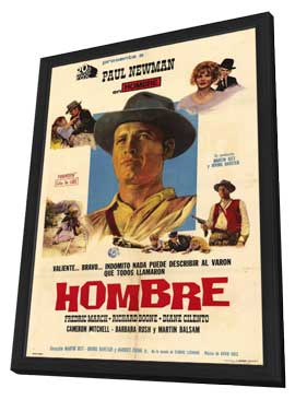 Hombre - 11 x 17 Movie Poster - Argentine Style A - in Deluxe Wood Frame