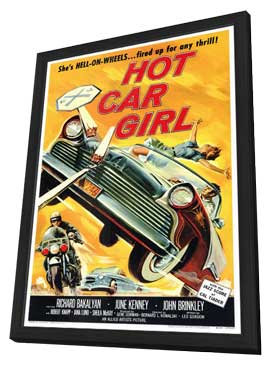 Hot Car Girl - 27 x 40 Movie Poster - Style A - in Deluxe Wood Frame