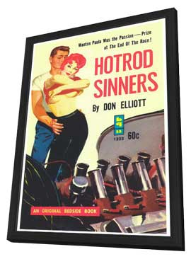 Hot Rod Sinners - 11 x 17 Retro Book Cover Poster - in Deluxe Wood Frame