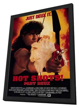 Hot Shots! Part Deux - 11 x 17 Movie Poster - Style B - in Deluxe Wood Frame
