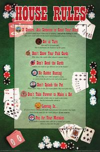 House Rules Poker - Party/College Poster - 24 x 36 - Style B