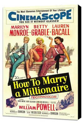 How to Marry a Millionaire - 27 x 40 Movie Poster - Style C - Museum Wrapped Canvas