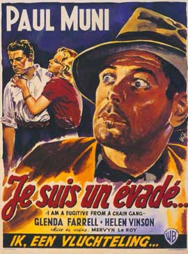 I Am a Fugitive from a Chain Gang - 11 x 17 Movie Poster - Belgian Style A