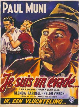 I Am a Fugitive from a Chain Gang - 27 x 40 Movie Poster - Belgian Style A
