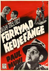 I Am a Fugitive from a Chain Gang - 27 x 40 Movie Poster - Swedish Style A