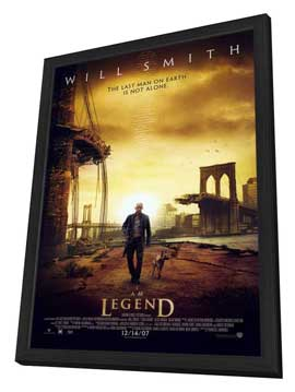 I Am Legend - 11 x 17 Movie Poster - Style B - in Deluxe Wood Frame