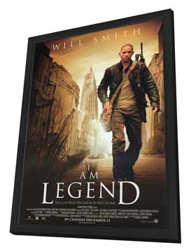 I Am Legend - 11 x 17 Movie Poster - Style C - in Deluxe Wood Frame