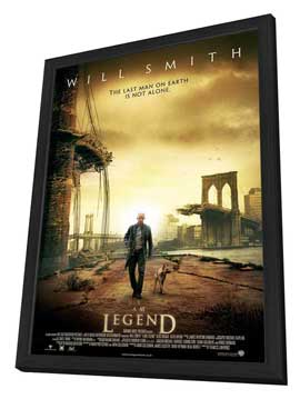 I Am Legend - 27 x 40 Movie Poster - UK Style A - in Deluxe Wood Frame