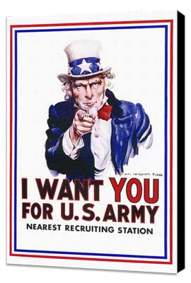 I Want You for U.S. Army - 27 x 40 Movie Poster - Style A - Museum Wrapped Canvas