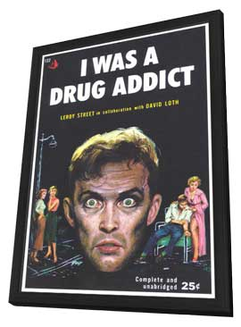 I Was A Drug Addict - 11 x 17 Retro Book Cover Poster - in Deluxe Wood Frame