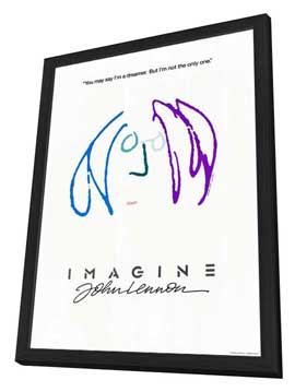Imagine John Lennon - 27 x 40 Movie Poster - Style D - in Deluxe Wood Frame