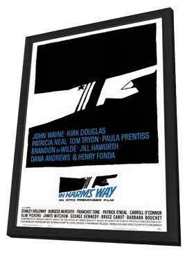 In Harm's Way - 27 x 40 Movie Poster - Style A - in Deluxe Wood Frame