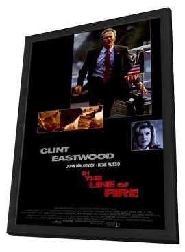 In the Line of Fire - 27 x 40 Movie Poster - Style B - in Deluxe Wood Frame