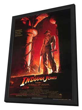 Indiana Jones and the Temple of Doom - 27 x 40 Movie Poster - Style B - in Deluxe Wood Frame