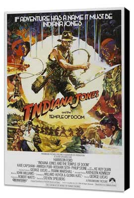 Indiana Jones and the Temple of Doom - 27 x 40 Movie Poster - Style E - Museum Wrapped Canvas