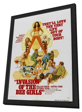 Invasion of the Bee Girls - 27 x 40 Movie Poster - Style A - in Deluxe Wood Frame