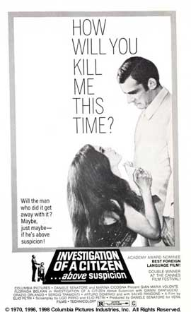 Investigation of a Citizen Above Suspicion - 27 x 40 Movie Poster - Style C