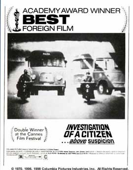 Investigation of a Citizen Above Suspicion - 27 x 40 Movie Poster - Style D