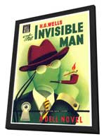 Invisible Man - 11 x 17 Retro Book Cover Poster - in Deluxe Wood Frame