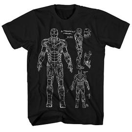 Iron Man - 3 Armor Blueprint Black T-Shirt