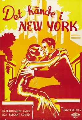 It Happened in New York - 11 x 17 Movie Poster - Swedish Style A