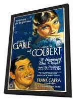 It Happened One Night - 27 x 40 Movie Poster - Style C - in Deluxe Wood Frame