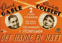 It Happened One Night - 11 x 17 Movie Poster - Swedish Style A