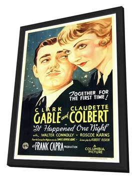 It Happened One Night - 27 x 40 Movie Poster - Style A - in Deluxe Wood Frame
