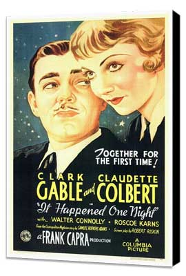 It Happened One Night - 27 x 40 Movie Poster - Style A - Museum Wrapped Canvas
