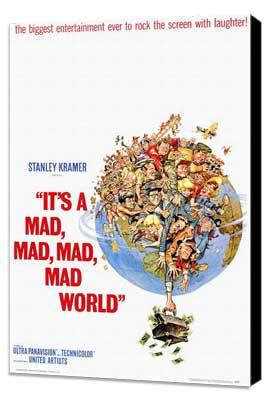 It's a Mad, Mad, Mad, Mad World - 27 x 40 Movie Poster - Style A - Museum Wrapped Canvas