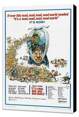It's a Mad, Mad, Mad, Mad World - 27 x 40 Movie Poster - Style B - Museum Wrapped Canvas