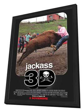 Jackass 3-D - 27 x 40 Movie Poster - Belgian Style B - in Deluxe Wood Frame