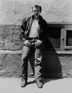 James Dean - James Dean Posed in Black Velvet Long Sleeve Jacket and Jeans while Leaning on the Wall with Hands on the Pocket