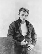 James Dean - James Dean Portrait in Black Tuck On Jacket and Black Jeans with Left Hand on the Waist