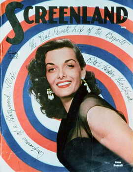 Jane Russell - 11 x 17 Screenland Magazine Cover 1940's Style A