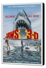 Jaws 3-D - 27 x 40 Movie Poster - Style A - Museum Wrapped Canvas