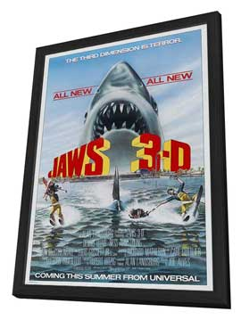 Jaws 3-D - 11 x 17 Movie Poster - Style A - in Deluxe Wood Frame