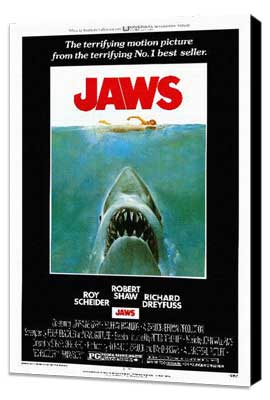 Jaws - 11 x 17 Movie Poster - Style A - Museum Wrapped Canvas