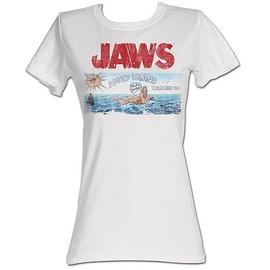 Jaws - Amity Island Sign White Juniors T-Shirt