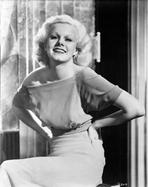 Jean Harlow - Jean Harlow Portrait in Short Sleeve Shoulder Dress and White Lingerie Tight Skirt with Hands on the Waist