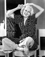 Jean Harlow - Jean Harlow Seated in Black Polka Dot Dress